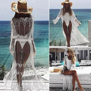 nuevo cardigan bordado de encaje sexy protector solar chaqueta de playa bikini bata traje de baño fuera de la rebeca al por mayor nihaojewelry NHXW219921's discount tags