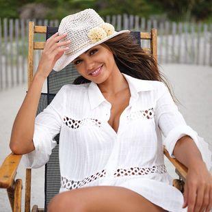 nuevo cheque camisa de encaje cardigan bikini blusa vacaciones protector solar traje de baño exterior protector solar venta al por mayor nihaojewelry NHXW219922's discount tags