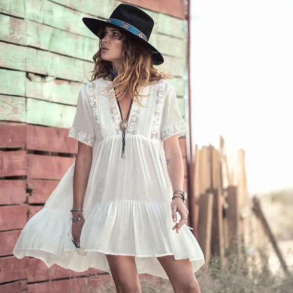 hot sale sunscreen beach jacket seaside holiday people cotton fight lace short swimsuit outside cover blouse wholesale nihaojewelry NHXW219924