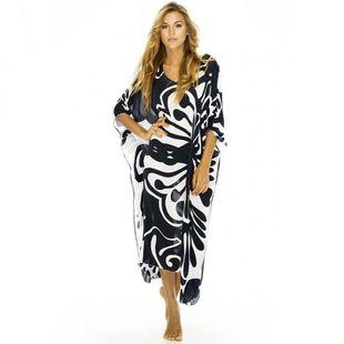 Nueva rayón mariposa impreso protector solar chaqueta de playa suelta playa vacaciones falda larga traje de baño fuera de bata al por mayor nihaojewelry NHXW219925's discount tags