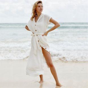 Nueva arrugada de un solo pecho de media longitud protector solar falda de playa chaqueta traje de baño encubrimiento bikini bikini chaqueta de punto al por mayor nihaojewelry NHXW219926's discount tags
