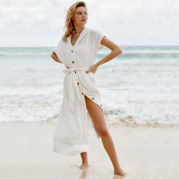 New wrinkled single-breasted mid-length sunscreen beach skirt jacket swimsuit cover-up bikini bikini cardigan wholesale nihaojewelry NHXW219926