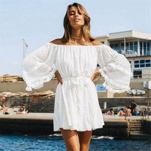 algodón slub cloth cinturón de encaje de manga holgada cinturón falda de playa traje de baño encubrimiento protector solar ropa falda corta al por mayor nihaojewelry NHXW219927's discount tags
