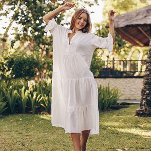Nueva rayón plisada falda en capas blusa bikini playa vacaciones falda larga playa protector solar traje de baño al por mayor nihaojewelry NHXW219929's discount tags
