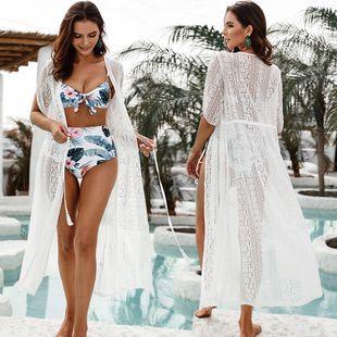 nuevo encaje blanco cardigan hueco blusa de playa traje de baño llevar protector solar ropa overoles al por mayor nihaojewelry NHXW219931's discount tags