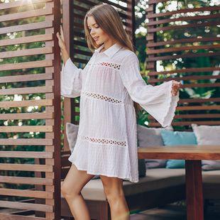 burbuja jacquard cuadros camisa cardigan bikini blusa vacaciones protector solar traje de baño traje de baño exterior protector solar venta al por mayor nihaojewelry NHXW219937's discount tags
