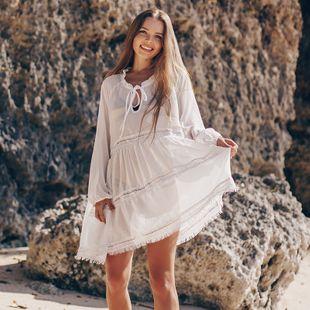 gasa arruga encaje blusa de manga larga playa vacaciones protector solar chaqueta de playa traje de baño blusa falda corta al por mayor nihaojewelry NHXW219939's discount tags