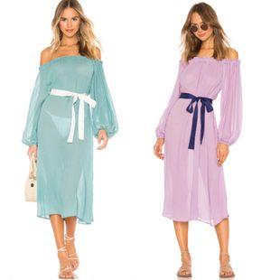 Nueva palabra de gasa cuello protector solar de manga larga chaqueta de playa vestido de fiesta traje de baño blusa exterior mujeres al por mayor nihaojewelry NHXW219940's discount tags