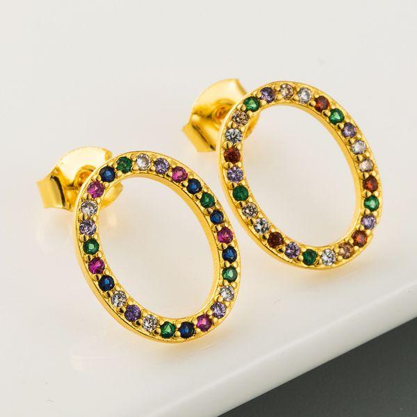 new explosion models 18K gold plated micro-set color zircon earrings  oval retro temperament earrings  wholesale nihaojewelry NHLN220020