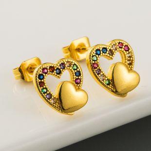 Venta caliente en forma de corazón pendientes hipoalergénicos de cobre con incrustaciones de color circón pendientes de temperamento pendientes de moda al por mayor nihaojewelry NHLN220021's discount tags
