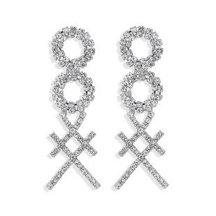 Simple y elegante de 8 caracteres de garra cruzada cuadrada con incrustaciones de soldadura de lujo de diamantes completos super flash doble círculo temperamento de moda al por mayor nihaojewelry NHJQ220023's discount tags