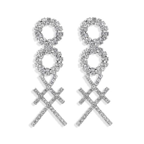 simple and stylish 8-character square cross claw inlaid welding luxury full diamond super flash double circle trendy temperament  wholesale nihaojewelry NHJQ220023's discount tags