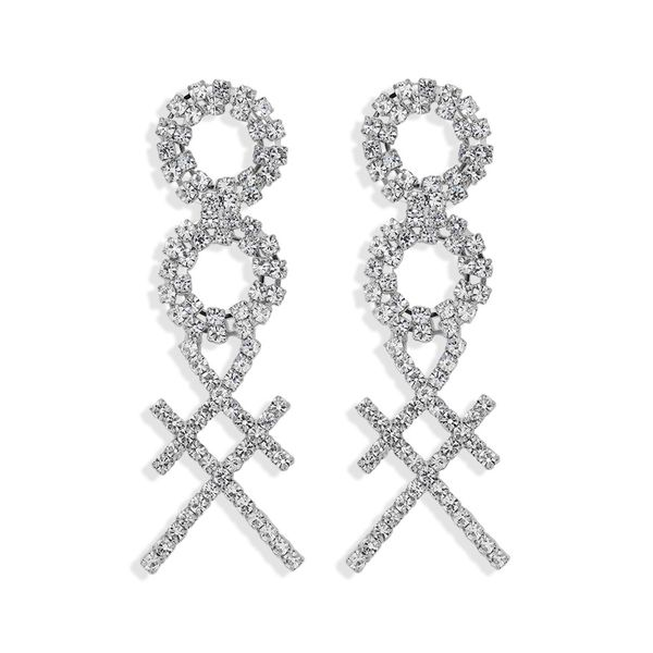 simple and stylish 8-character square cross claw inlaid welding luxury full diamond super flash double circle trendy temperament  wholesale nihaojewelry NHJQ220023