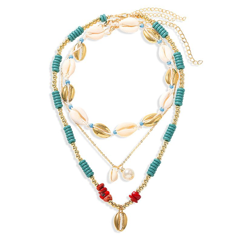 Bohemian Multi-layer Pearl Shell Stone Bead Necklace Beach Style Metal Shell Necklace wholesale nihaojewelry NHJQ220024