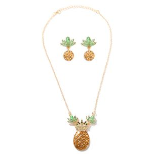Pineapple Acrylic Diamond Personality Hundred-Year Cute  Street Shot Fruit Necklace Earring Set wholesale nihaojewelry NHJQ220027's discount tags