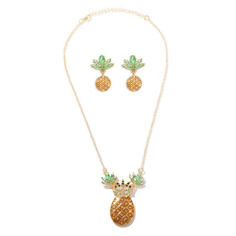 Ananas Acrylique Diamant Personnalit Centenaire Mignon Street Shot Fruit Collier Boucle D39oreille Ensemble en gros nihaojewelry NHJQ220027