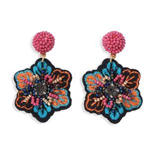 tela de bordado popular hecho a mano pendientes de cuentas de arroz flores retro estrella creativa pendientes de pasarela salvaje venta al por mayor nihaojewelry NHJQ220029's discount tags