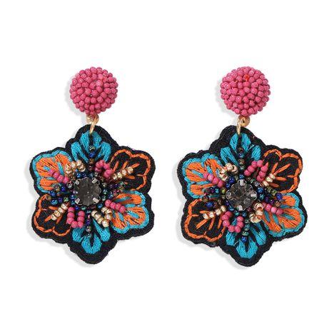 popular embroidery fabric handmade rice bead earrings retro flowers creative star wild catwalk earrings wholesale nihaojewelry NHJQ220029's discount tags
