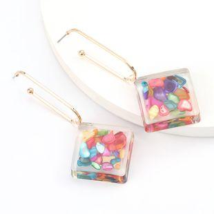Diseño personalizado sentido colorido cuadrado acetato placa pendientes mujer retro salvaje pendientes venta al por mayor nihaojewelry NHJE220034's discount tags