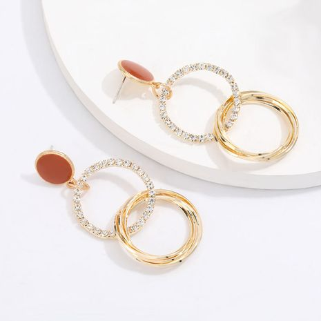Creative niche style multi-layer round alloy diamond ring interlocking personality S925 silver needle earrings wholesale nihaojewelry NHJE220036's discount tags
