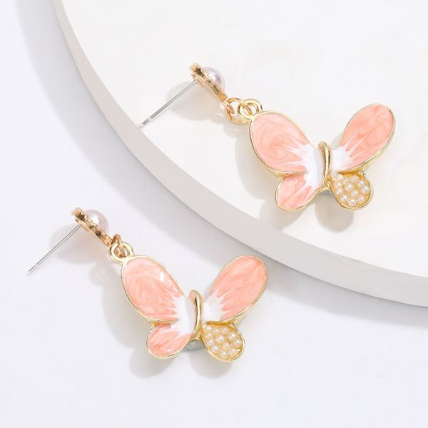 Korean alloy drop oil inlaid pearl butterfly S925 silver needle earrings girl heart earrings hot wholesale nihaojewelry NHJE220040
