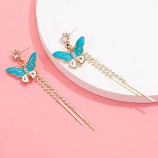Pendientes de animales coreanos aleación gota de aceite mariposa larga sección pendientes de borla de diamantes S925 pendientes de aguja de plata marea venta al por mayor nihaojewelry NHJE220039's discount tags