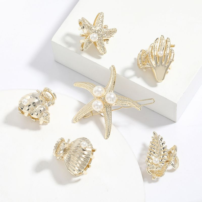 korean fashion alloy inlaid pearl hairpin girls starfish shell grabbing clip top clip ponytail hair accessories wholesale nihaojewelry NHJE220042