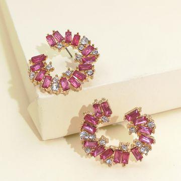 Moda exagerada multi-capa acrílico diamante geométrico completo diamante pendientes niñas retro generoso temperamento pendientes venta al por mayor nihaojewelry NHJJ220049