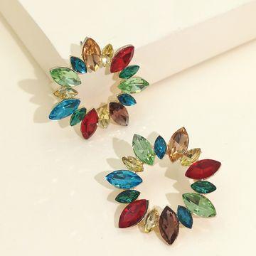 moda exagerada diamante geométrico girasol completo diamantes pendientes temperamento elegante mujer pendientes venta caliente venta al por mayor nihaojewelry NHJJ220050