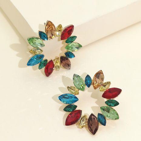 fashion exaggerated diamond geometric sunflower full diamond earrings temperament elegant women's earrings hot sale wholesale nihaojewelry NHJJ220050's discount tags
