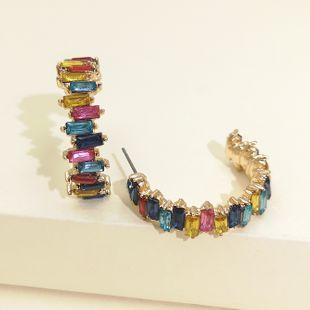 Moda diamante acrílico exagerado geométrico en forma de C pendientes de diamantes completos mujeres retro temperamento generoso pendiente venta al por mayor nihaojewelry NHJJ220052's discount tags