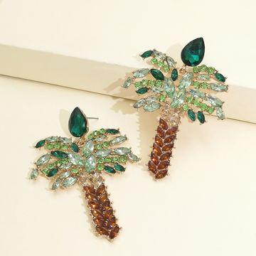 Pendientes de árbol de coco de diamante Temperamento de moda Pendientes de botón chapados en oro al por mayor nihaojewelry NHJJ220053