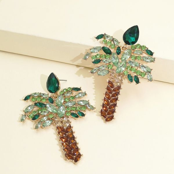 Diamond Coconut Tree Earrings Fashion Temperament Gold Plated Stud Earrings wholesale nihaojewelry NHJJ220053