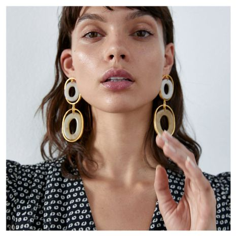fashion retro earrings wild multi-layer oval alloy acetate plate earrings wholesale nihaojewelry NHCT220059's discount tags