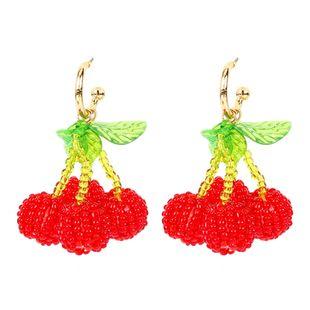 stylish hand-woven crystal beaded cherry earrings fruit earrings cute wholesale nihaojewelry NHCT220066's discount tags