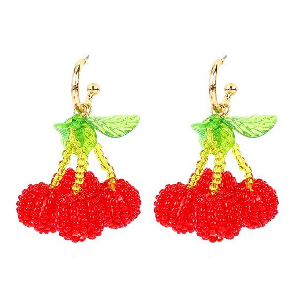 stylish hand-woven crystal beaded cherry earrings fruit earrings cute wholesale nihaojewelry NHCT220066