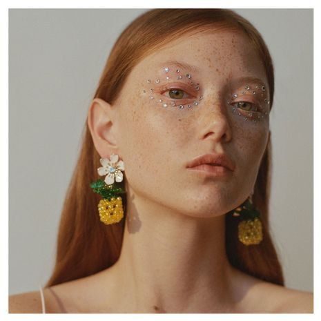 fashion exaggerated hand-woven flowers pineapple earrings creative cute fruit earrings wholesale nihaojewelry NHCT220065's discount tags
