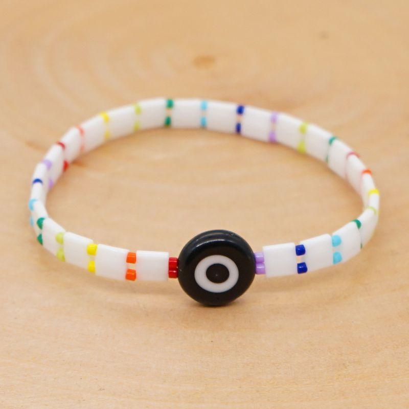 imported tila beaded bracelet DIY original simple Miyuki evil eye beach style bracelet  wholesale nihaojewelry NHGW220078