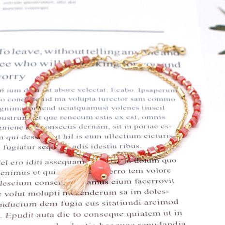 Miyuki small bracelet Mizhu hand-woven friendship rope simple tassel gold chain square bead semi-precious stone bracelet wholesale nihaojewelry NHGW220079's discount tags