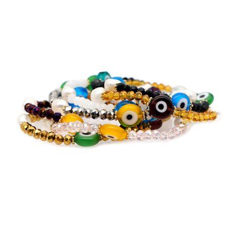 Perlas simples naturales de agua dulce perla barroca esmalte étnico mal de ojo pulsera al por mayor nihaojewelry NHGW220084's discount tags