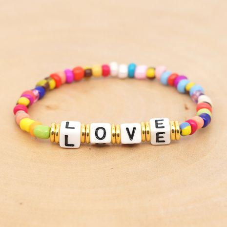 original boho ethnic wind Quartet LOVE alphabet rainbow glass beads bracelet wholesale nihaojewelry NHGW220089's discount tags