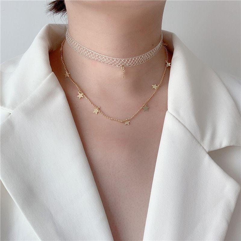 Korean collar choker necklace super fairy double lace star clavicle chain simple temperament neck strap neck chain wholesale nihaojewelry NHYQ220113