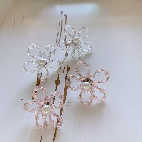 Korea new earrings tide retro crystal pearl transparent flower earrings exaggerated fairy earrings wholesale nihaojewelry NHYQ220116's discount tags