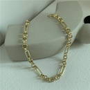 Fashionable boyfriend style choker exaggerated large oval ring chain real gold plating chic clavicle chain necklace wholesale nihaojewelry NHYQ220124