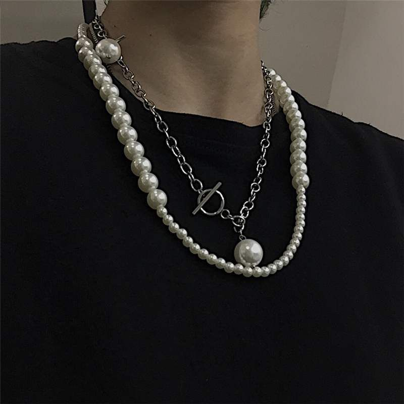 South Korea men and women size pearl necklace multi-layer long necklace choker wholesale nihaojewelry NHYQ220129