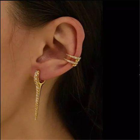 earrings retro gradient diamond zircon water drop earrings French fashion earrings zircon ear bone clip wholesale nihaojewelry NHYQ220131's discount tags