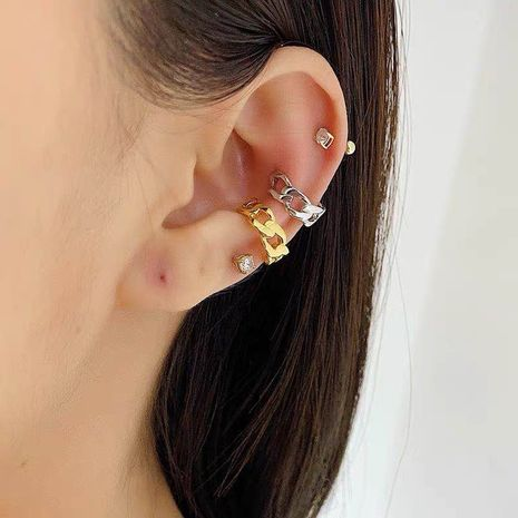 hip-hop ear clips fashion hipster chain gold silver retro thick twist mini earless cochlear clip ear clip wholesale nihaojewelry NHYQ220142's discount tags
