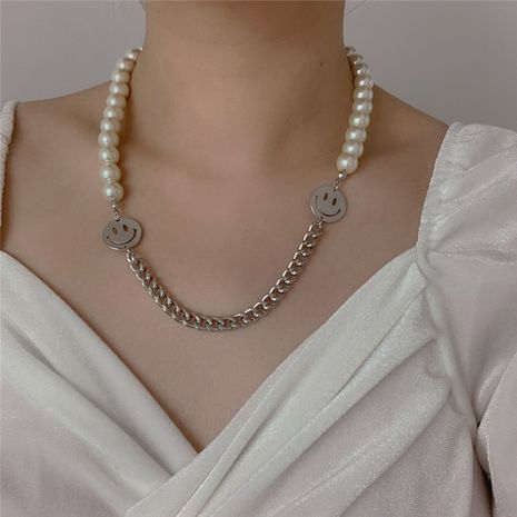 Korea Harajuku style handmade pearl smiley clavicle chain hip-hop wild trend necklace couple tide wholesale nihaojewelry NHYQ220146's discount tags