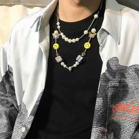 pearl stitching necklace fashion tide brand bead chain string pearl men couple hip hop accessories wholesale nihaojewelry NHYQ220154's discount tags