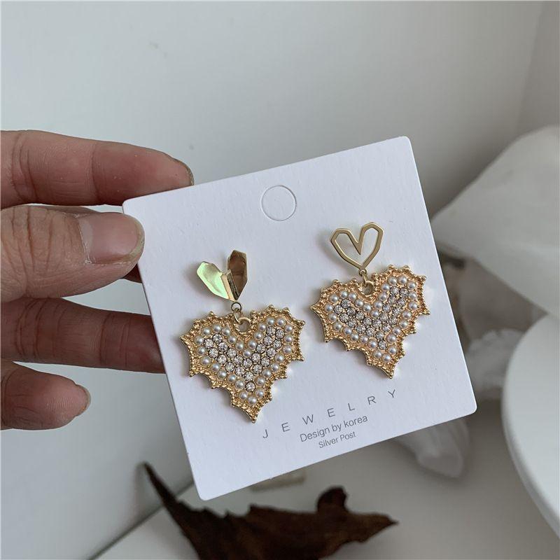 Korea s925 Silver Needle flash diamond pearl love earrings fashion heart earring wholesale nihaojewelry NHYQ220155